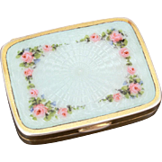 Antique Sterling Guilloche Enamel with Pink Rose Garlands Pill Box by Blackinton, Vanity Dresser Box