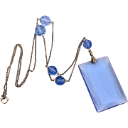 Art Deco Sterling & Blue Crystal Necklace, Large Glass Luster Style Slab Pendant, Faceted Beads