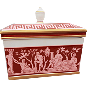 Mottahedeh Ceramic Box Greco Roman Nude Frieze in Pink & Maroon, Greek Key Design, Urn Shaped Handle