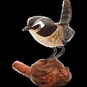 Norman Brumm Copper Enamel Sparrow Bird on Wood Burl Sculpture