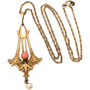 Art Nouveau Egyptian Revival Lotus Lavalier Necklace Foster & Bailey Gold Filled Angel Skin Coral & Baroque Pearl Dangle