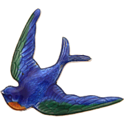 Swallow Blue Bird Sterling Enamel Victorian Revival Pin by Hayward, Green and Orange Details