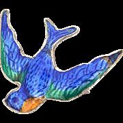 Victorian Revival Love Token Sterling Enamel Swallow Pin, Blue Bird Brooch