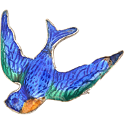 Victorian Revival Love Token Sterling Enamel Swallow Pin, Blue Bird Brooch