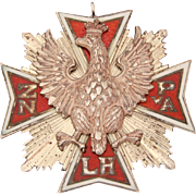 Enamel Sterling Polish Falcon Medal Fraternal Group ZNPA or ZNPwA, Maltese Cross with Raised Eagle Poland