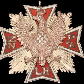 Enamel Sterling Polish Falcon Medal Fraternal Group ZNPA or ZNPwA, Maltese Cross with Raised Eagle Poland