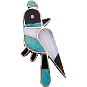 """Zuni Quail Bird Pin Sterling with Inlaid Turquoise, Onyx, Mother of Pearl, Horn - Small Brooch 1.25"""""""