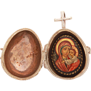 Russian Lacquer Icon of Virgin Mary & Christ Child in Sterling Silver Filigree Egg Locket Pendant