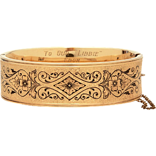 Victorian Revival Gold Filled Bangle Bracelet Taille d'Epargne Enamel from Finberg Man Co., Engraved Wharton County Texas