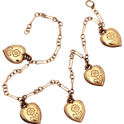 Child Size Flowered Puffy Heart Charm Bracelet, 5 Tiny Charms on Gold Tone Chain Missing Clasp