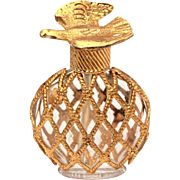 Mini L'Air du Temps Perfume Bottle, Miniature Glass with Metal Lattice Cage & Gold Dove, Nina Ricci Made in France