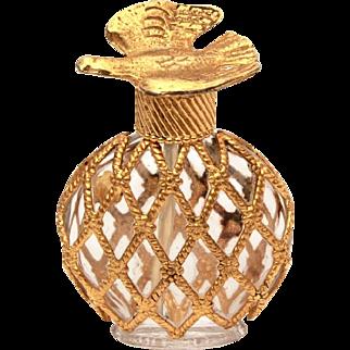 Mini L'Air du Temps Perfume Bottle, Miniature Glass with Metal Lattice Cage & Gold Dove, Nina Ricci Made in France
