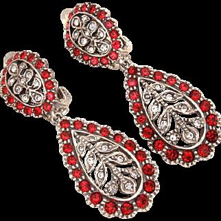 MMA Sterling Rhinestone Dangle Clip Earrings, Metropolitan Museum of Art Jewelry