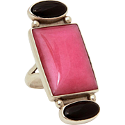 "Sterling Ring with Pink & Black Stones, Rhodochrosite Onyx, Size 7, Large at 1.75"" High"