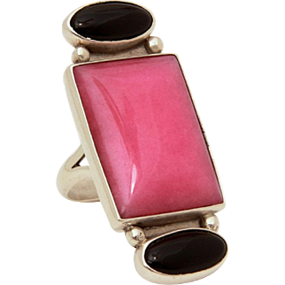 """Sterling Ring with Pink & Black Stones, Rhodochrosite Onyx, Size 7, Large at 1.75"""" High"""