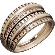 David Andersen Sterling Saga Ring, 300 AD Viking Replica from 1960s, Adjustable Bypass Size 9 1/2