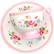 Shelley Ely Shape Tea Cup & Saucer Rose and Red Daisy Pattern 13509, Pink Flowers & Pansy