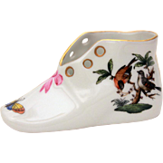 Herend Hungary Porcelain Baby Shoe in Rothschild Birds Pattern with Butterfly Moth & Pink Bow