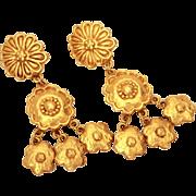 "Emanuel Ungaro Paris Earrings, 3.25"" Long Retro Gold Tone Dangle Flowers, Clip On"