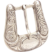 Neslon Bringhoff Sterling Western Buckle, Small Size, Bringolf Ranger Set Belt Buckle Signed NB