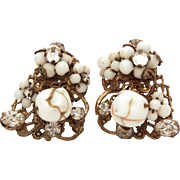 Original by Robert Filigree Earrings Milk Glass with Aventurine Goldstone Beads, Rhinestones, Hand Wired Clip Ons