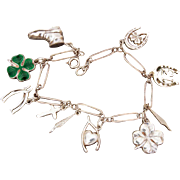 Good Luck Sterling Charm Bracelet with Enamel 4 Leaf Clover, Lucky 13, Horseshoe & Heart, Wishbones