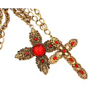 Large Red Rhinestone Cross Necklaces on Textured Chains