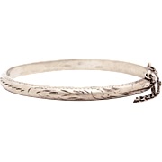 Engraved Sterling Bangle Bracelet, Small Hinged Silver Stacking