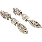 Polcini Rhinestone Dangle Earrings Silver Tone Clip Ons