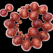 Huge Bakelite Bead Necklace & Earrings Marbled Brown Chunky Signed Castlecliff, 209.8 grams