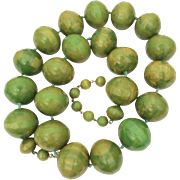 Huge Bakelite Bead Necklace Marbled Green Chunky Signed Castlecliff, 291.7 grams