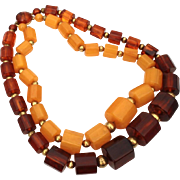 Bakelite Necklace Double Strand Faceted Beads Tortoise or Rootbeer and Butterscotch