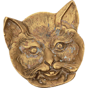 Brass Cat Face Trinket Dish Victorian Revival Kitty