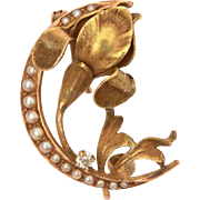 Antique Art Nouveau Pin 14k Diamond & Seed Pearls Crescent Moon with Orchid or Iris Flower Brooch
