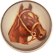 Antique Horse Bridle Rosette Pin with Equestrian Portrait Under Glass