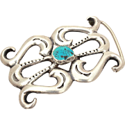 Nellie Tso Navajo Sterling Turquoise Belt Buckle, Sand Cast Silver
