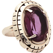 B. Piaso Jr Navajo Sterling Amethyst Ring, Size 7 1/2, Native American Indian Silver