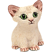 Basil Matthews White Kitten Figurine, Big Green Eye Kitty Cat Sculpture, Hand Painted United Kingdom