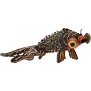 Chinese Sterling Enamel Articulated Koi Fish, Reticulated Silver Sculpture Big Eye Goldfish