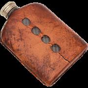Antique Leather Clad Glass Hip Flask, Liquor Bottle Whisky