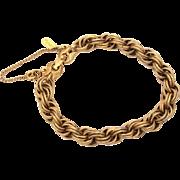 Monet Gold Tone Starter Charm Bracelet Textured Double Link Chain