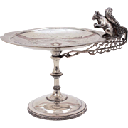 Antique Squirrel Calling Card Tray Reed & Barton Silverplate Footed Dish