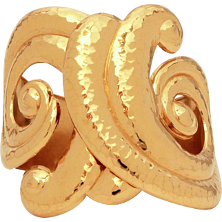 Barrera for Avon Corinthian Collection Large Hammered Gold Tone Clamper Bracelet, Jose Maria Barrera