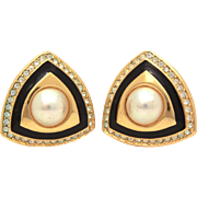 Christian Dior Faux Pearl & Black Enamel Gold Tone Clip Earrings