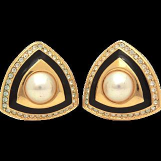 Christian Dior Faux Pearl & Black Enamel Gold Tone Clip Earrings