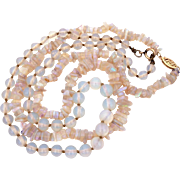 Opalite Art Glass Bead Necklaces, Opaline Graduated & Nugget Faux Opals, 14k Gold Filigree Clasp on One