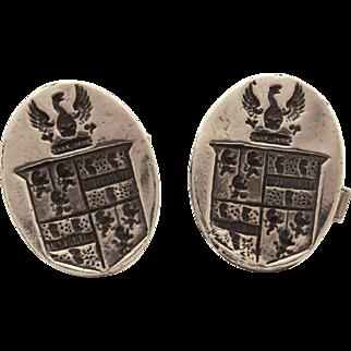 Charles Walker Sterling Heraldic Cufflinks with Coat of Arms, Chas Walker Originals