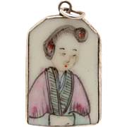 Antique Chinese Famille Rose Porcelain Pottery Shard with Red Wax Seal Set in Sterling Necklace Pendant