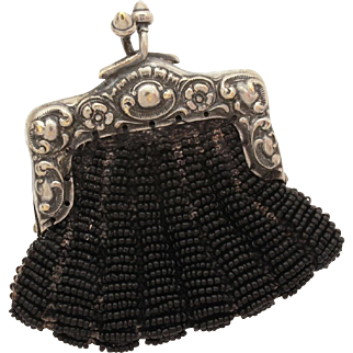 Antique Beaded Chatelaine Coin Purse Silverplate Frame, Miniature Bebe Doll Size Purse, Black Beads