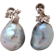 Gray Baroque Pearl Sterling Screw Back Earrings, Large Grey Pearls with Silver Leaves